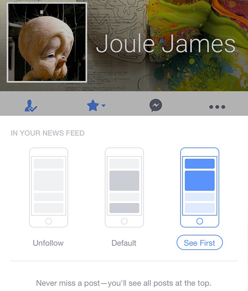 See First - new Facebook functionality